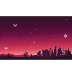 Silhouette of City scenery christmas vector image