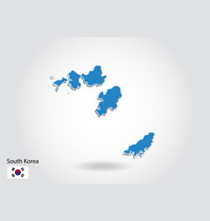 south korea map design with 3d style blue south vector image
