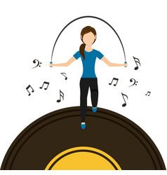 Sport woman jumping rope vinyl disk music vector