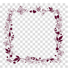 Square frame of abstract flowers and leaves on vector
