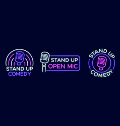 standup show signs neon comedy club and open vector image