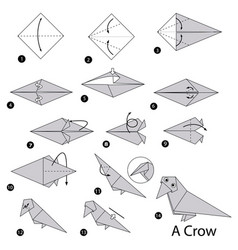 Step instructions how to make origami a crow vector