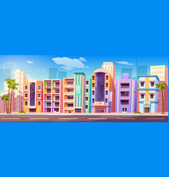 street in miami with hotels and palm trees vector image