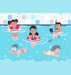 Swimming kids cartoon happy children in a pool vector