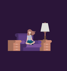 teenager girl sitting in livingroom vector image