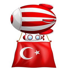 The flag of Turkey attached to the floating vector image