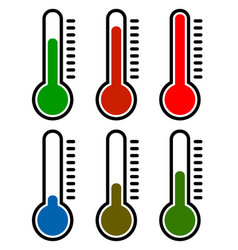 Thermometer set cold hot temperatures vector