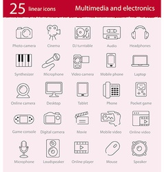 Thin line multimedia and electronics icons set vector