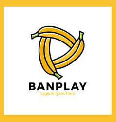 three bananas play media logo vector image