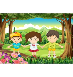 Three kids at forest vector