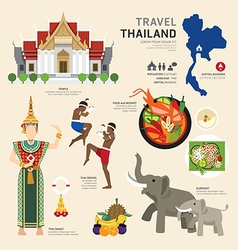 Travel Concept Thailand Landmark Flat Icons Design vector image