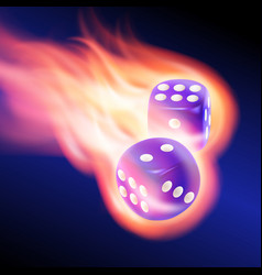 two blue dices in fire vector image