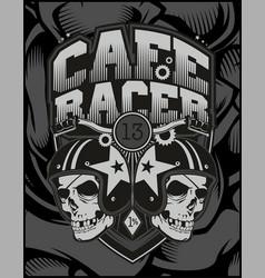 Two skull helmet cafe racer vector