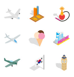 Unforgettable journey icons set isometric style vector