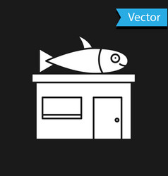 White seafood store icon isolated on black vector