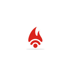 wifi sign fire flame logo vector image