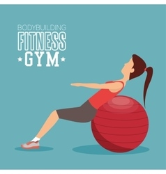 Woman training abs with sphere ball fitness gym vector