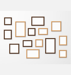 wooden frame wood blank picture frames in vector image