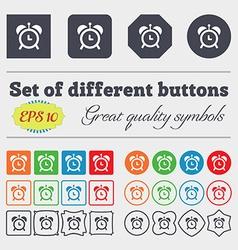 alarm clock icon sign Big set of colorful diverse vector image vector image