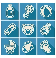Baby Shower Square Icons vector image
