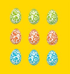 colorful easter egg decoration floral folk-style vector image