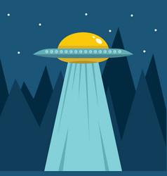 flat cartoon with ufo vector image