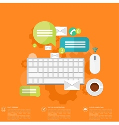 Flat keyboard icon Contact social network vector image vector image