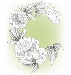 Frame card with flowers vector image