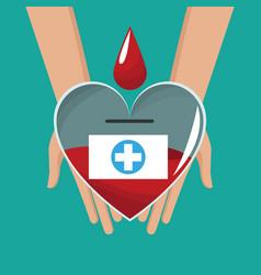 hand holding glass heart blood drop cross vector image vector image