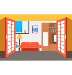 House room background flat vector