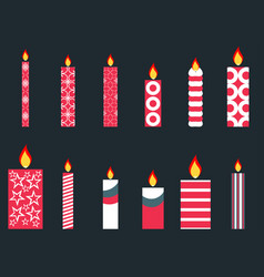 set of christmas candles in a flat style vector image vector image