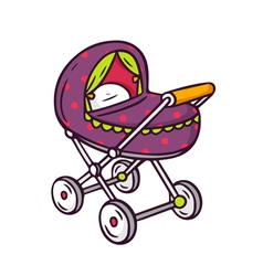 Baby stroller bright children isolated on w vector image