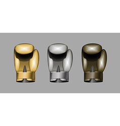 boxing gloves Set boxing Gold bronze Silver cup vector image vector image