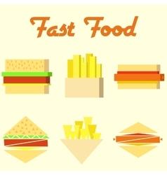 fast food icons mono symbols vector image vector image