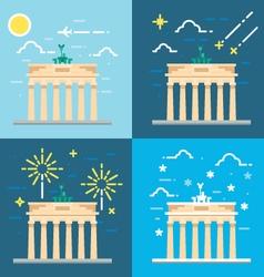 Flat design 4 styles of Brandenburg gate Berlin Ge vector image vector image