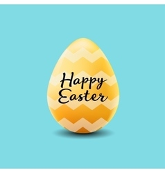 happy easter poster realistic yellow egg with vector image vector image