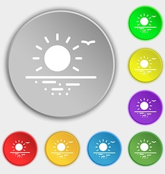 sunset icon sign Symbol on eight flat buttons vector image vector image