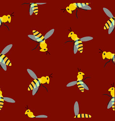 bee pattern on brown background vector image vector image