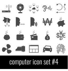 computer icon set 4 gray icons on white vector image vector image