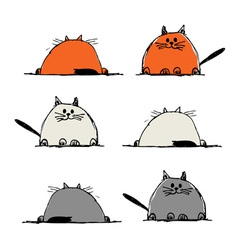 Funny cats sketch for your design vector image