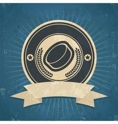 Retro Hockey Puck Emblem vector image vector image