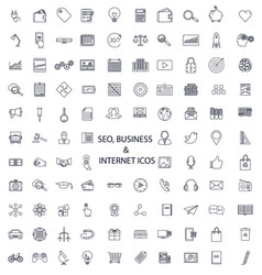 set of lines of icons seo business media vector image vector image