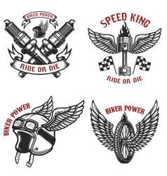 set of vintage motorcycle emblems on white vector image