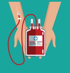 Hand holding iv bag blood care vector