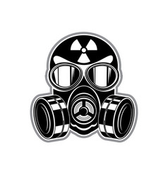 protective suit gas mask with lenses and sign of vector image