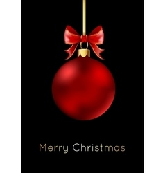 Red Christmas ball with a bow isolated on black vector image vector image