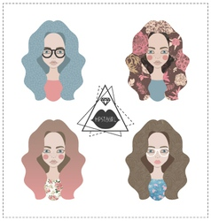 set of hipster girls vector image vector image