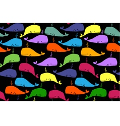 whales seamless background vector image