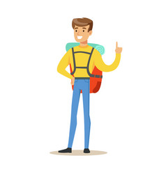 young man tourist standing with backpack colorful vector image vector image