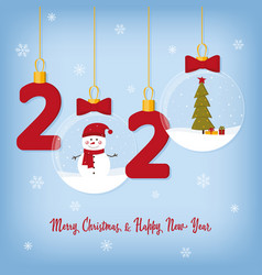 2020 happy new year card with christmas balls vector